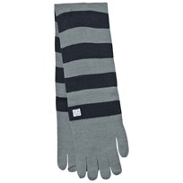 Indikidual Grey Navy Striped Gloves Scarf Sort