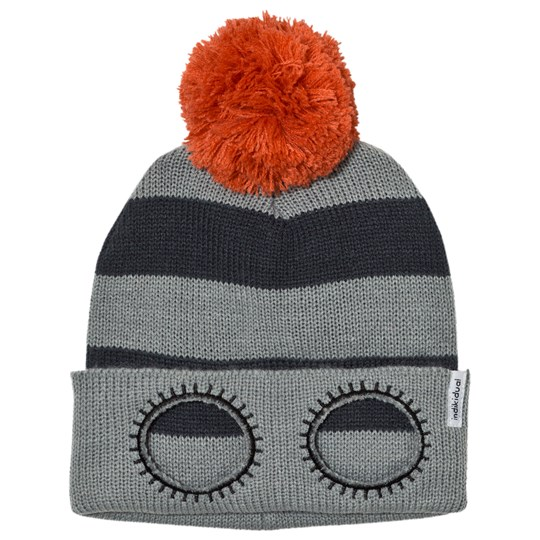 Indikidual Grey Navy Striped Beanie Black