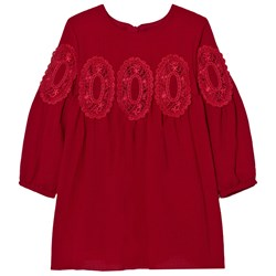 Chloé Red Lace Panel Crepe Long Sleeve Dress
