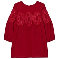 Chloé Red Lace Panel Crepe Long Sleeve Dress 953