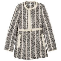 Chloé Black and White Jacquard Coat with Faux Fur Lining 09B