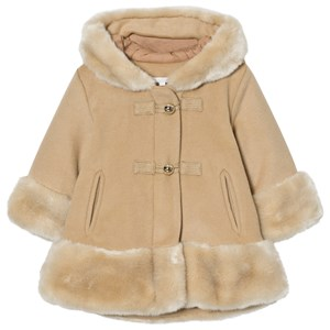 Image of Chloé Camel Wool Faux Fur Hooded Coat 12 months (3065505115)