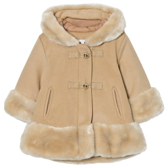 Chloé Camel Wool Faux Fur Hooded Coat 231