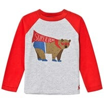 Joules Red and Grey Super Bear Print Raglan Sleeve Tee RED BEAR