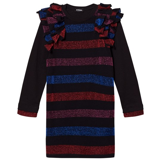 Diesel Black/Multi Colour Stripe Long Sleeve Dress K900