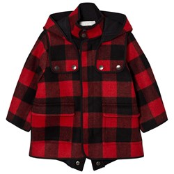 Stella McCartney Kids Red Check Beet Hooded Coat
