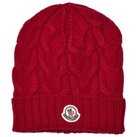 Moncler Cable Knit Beanie in Red Rød