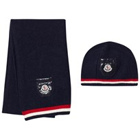 Moncler Hat and Scarf Navy Marinblå