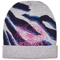 Kenzo Grey Multi Animal Print and Tiger Beanie 20