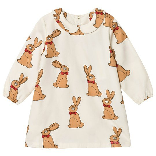 Mini Rodini Rabbit Dress Off White White