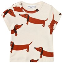Mini Rodini Dog T-shirt Off White White