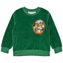 Mini Rodini Fox Velour Sweatshirt Green Green