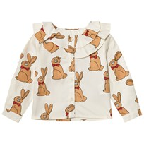 Mini Rodini Rabbit Blus Off White White