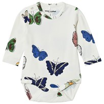 Mini Rodini Butterflies Baby Body Off White White