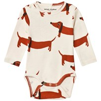 Mini Rodini Dog Baby Body Off White White