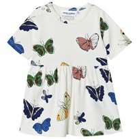 Mini Rodini Butterflies Klänning Off White White