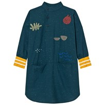 Bobo Choses Tunic Dress Sea Junk Embroidery Blue