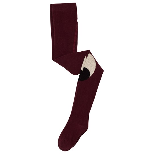 Bobo Choses Eyes Tights Burgundy Red