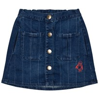 Bobo Choses Denim Buttons Skirt Loup Embroidery. Black