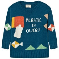 Bobo Choses Plastic Is Over? Intarsia Knitted Sweater Blue