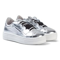 Fendi Silver Leather Branded Tongue Trainers FOQWZ