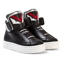 Fendi Black Monster High Top Trainers with Branded Tongue F0QA1