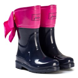 Joules Navy and Pink Bow Detail Wellies