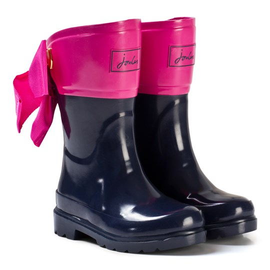 Tom Joule Navy and Pink Bow Detail Wellies French Navy