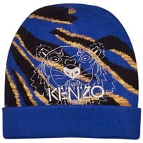 Kenzo Blue Multi Tiger and Animal Print Beanie 48