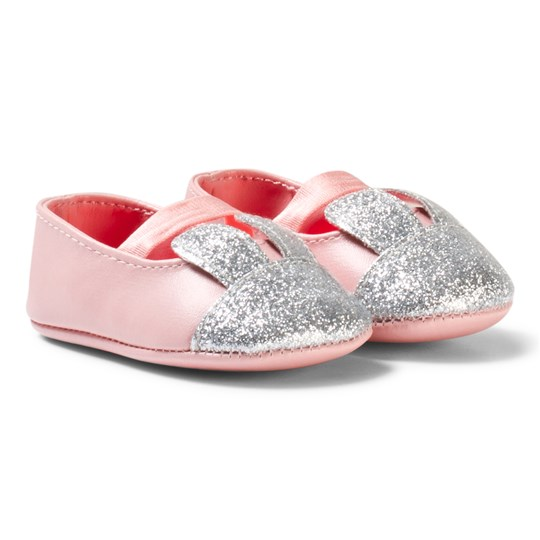 Billieblush Pale Pink and Silver Glitter Bunny Crib Shoes 46F