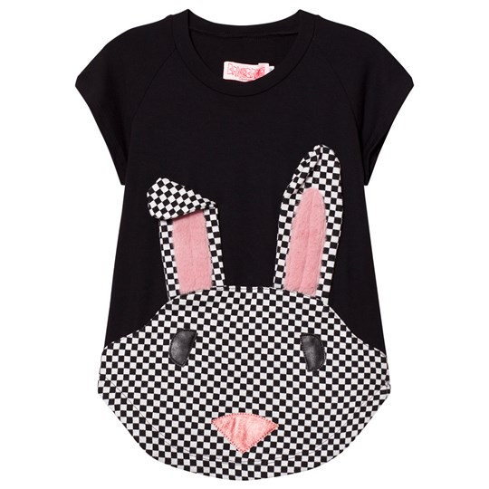 BANGBANG Copenhagen Black Nova Rabbit Check Applique Sweat Dress Black