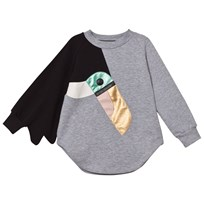 BANG BANG Copenhagen Grey Marl Toucan Love Bird Sweat Dress Black