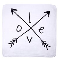 Aden + Anais White and Black Lovestruck Dream Blanket White/Black