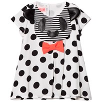 BANG BANG Copenhagen White and Black Spot Dog Applique Big Hug Woven Dress White and Black