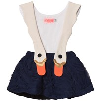 BANG BANG Copenhagen White/Navy Swan Bird Girl Ruffle Dress White and Navy
