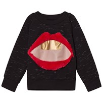 BANG BANG Copenhagen Black Slub Mouth Applique Hello Sweatshirt Black