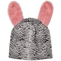 BANG BANG Copenhagen Black/White Jump Around Fluffy Ear Beanie Black and White