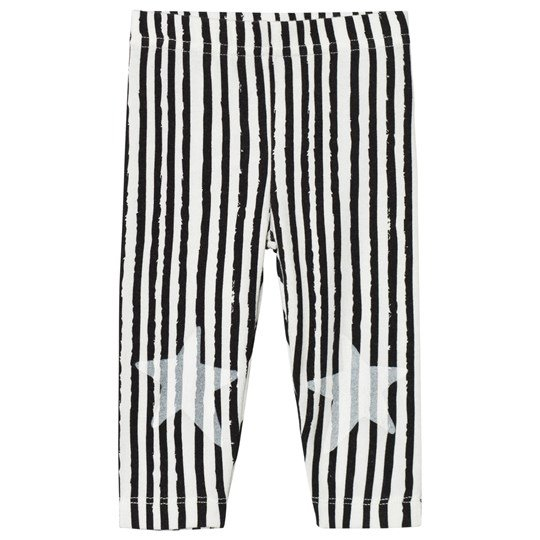 Noe & Zoe Berlin White Stripe Print with Stars Leggings White