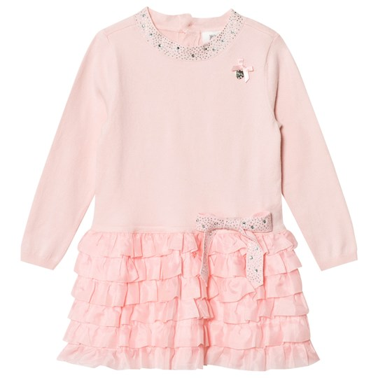 Le Chic Pink Grey Ruffles Skirt and Bow Dress 215