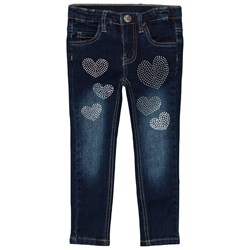 Le Chic Dark Blue Denim Heart Stone Pant