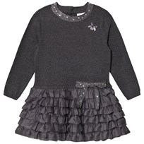 Le Chic Dark Grey Ruffles Skirt and Bow Dress 797 Antracite Melange