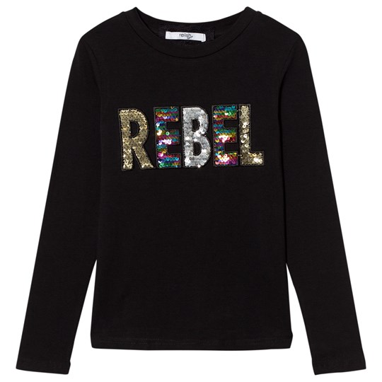 Relish Black Sequin Rebel Long Sleeve Tee 1000