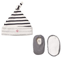 Petit Bateau Newborn Hat and Booties Set Creme Marine Stripe White