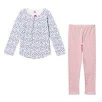 Petit Bateau Flower Print and Striped Pyjamas White