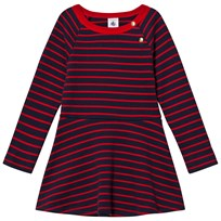 Petit Bateau Marine Red Striped Dress Blue