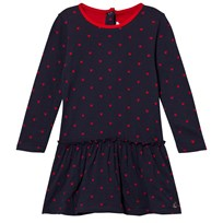 Petit Bateau Marine Ruffle Dress Red Hearts Blue