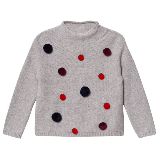 Il Gufo Grey and Multi Pom Pom Sweater 0769