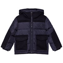 Il Gufo Navy Wool and Nylon Padded Hooded Coat 495