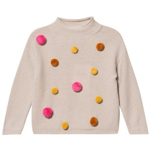 Image of Il Gufo Beige and Multi Pom Pom Sweater 12 years (2743710123)