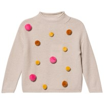 Il Gufo Beige and Multi Pom Pom Sweater 1328